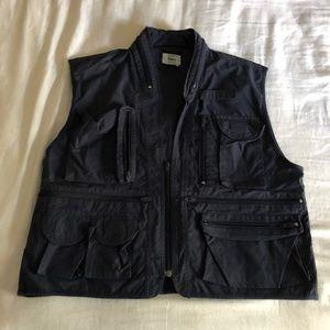 VTG rare Izod Lacoste Blue Multi Pocket Vest men